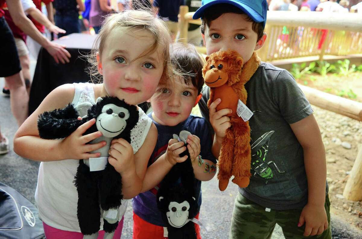 Louisa Voisine, 3, of Fairfield, at left, and her brothers Abraham, 2, and Charles, 5, right, show off tow spider monkey dolls that they got for free at the entrance as two Black-Handed Spider Monkeys were celebrated as the newest residents at Beardsley Zoo in Bridgeport, Conn., on Saturday June 29, 2019. The male Spider monkey born in 2014 named Gilligan and a female Spider monkey born in 2000 named TT (Short for Tina Turner), have joined the zoo from the Henry Doorly Zoo and Aquarium in Omaha, Neb.