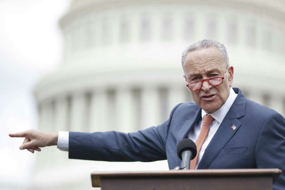 WASHINGTON, DC - JUNE 20: Senate Minority Leader Chuck Schumer (D-N.Y.) delivers remarks during a press conference with Democratic Lawmakers on gun violence along the east front of the U.S. Capitol on June 20, 2019 in Washington, DC. Republicans have blocked the Universal Background Checks bill in the Senate and Democrats are demanding a vote on the bill that would require background checks before almost all gun purchases, including private sales. (Photo by Tom Brenner/Getty Images)