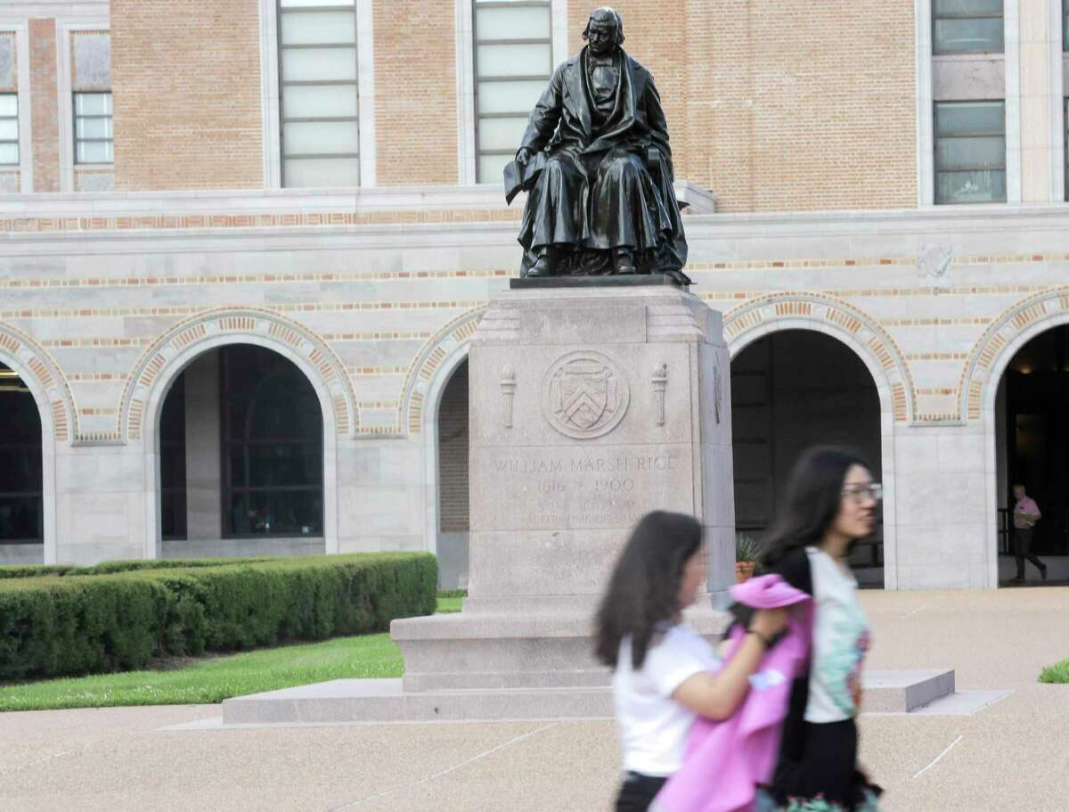 Statue of Rice University founder William Marsh Rice on campus on Friday, June 7, 2019 in Houston. Rice University started a new task force, which will explore its history and connections to slavery, segregation and racial injustice.