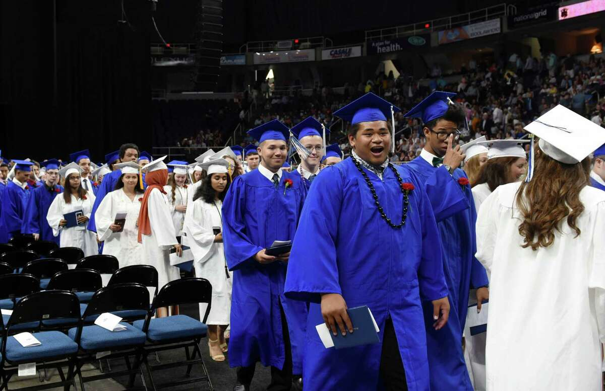 Graduates smile as they leave the arena during Shaker High's 61st Commencement Ceremony on Saturday, June 29, 2019 at Times Union Center in Albany, NY. (Phoebe Sheehan/Times Union)