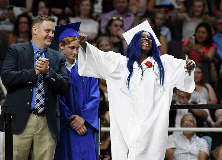 Brittney Jaques celebrates before receiving her diploma during Shaker High's 61st Commencement Ceremony on Saturday, June 29, 2019 at Times Union Center in Albany, NY. (Phoebe Sheehan/Times Union) Photo: Phoebe Sheehan / 20047324A