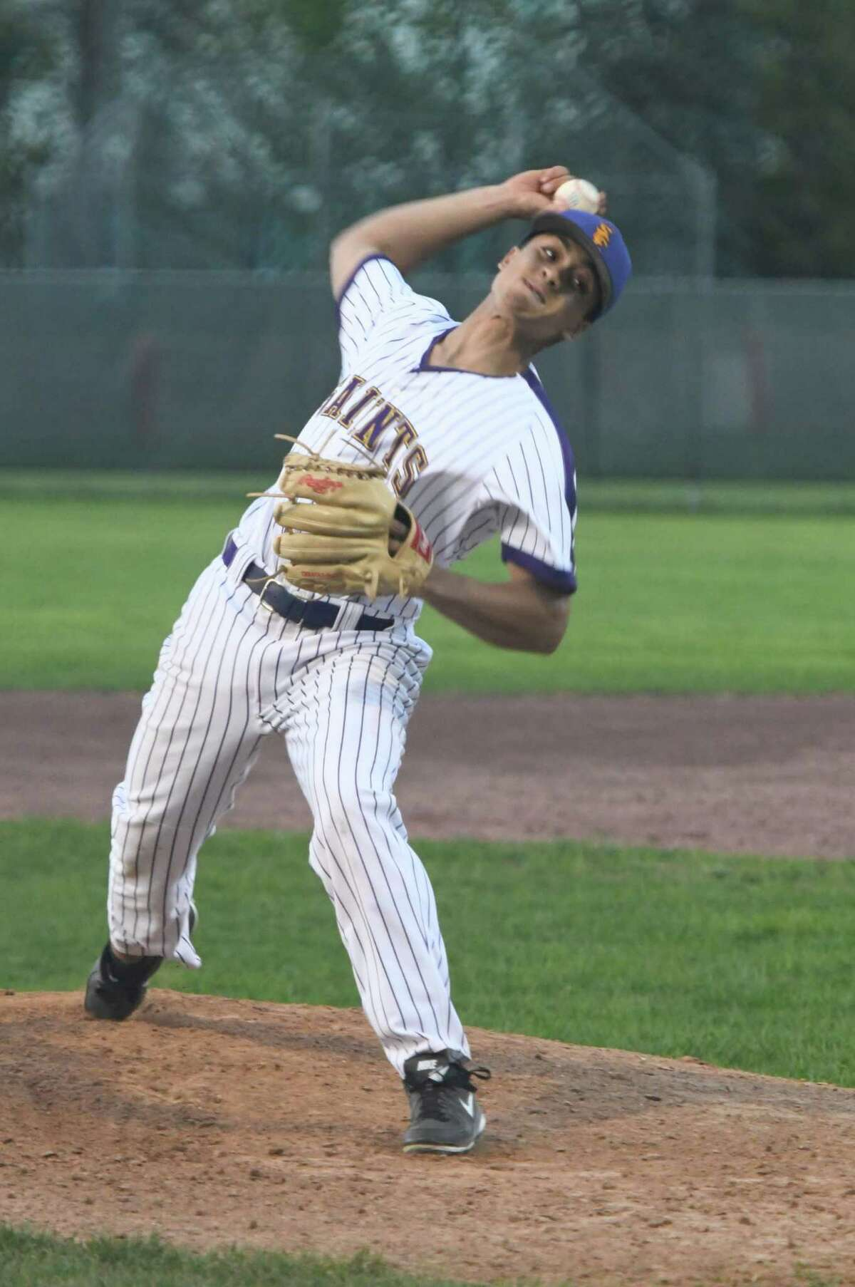 Spa Catholic pitcher Terel Tillman makes a pitch during a game against Mechanicville on Saturday, May 11, 2019, at Veterans Memorial Park in Saratoga Springs, N.Y. (Jenn March, Special to the Times Union )