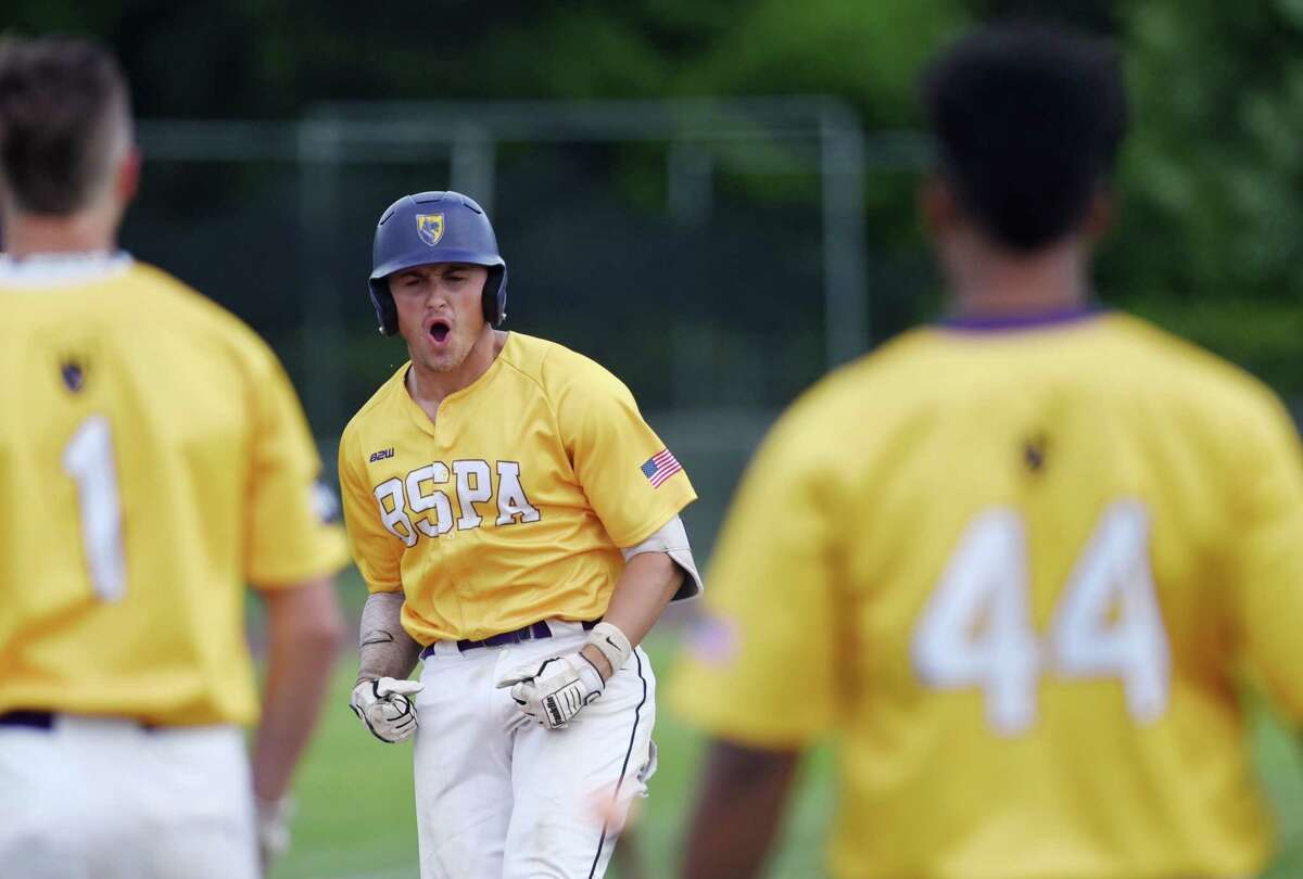 Ballston Spa's Luke Gold celebrates hitting a homerun during the Class A baseball state semifinal against Sayville on Friday, June 14, 2019 at Union Endicott High School in Endicott, NY. (Phoebe Sheehan/Times Union)