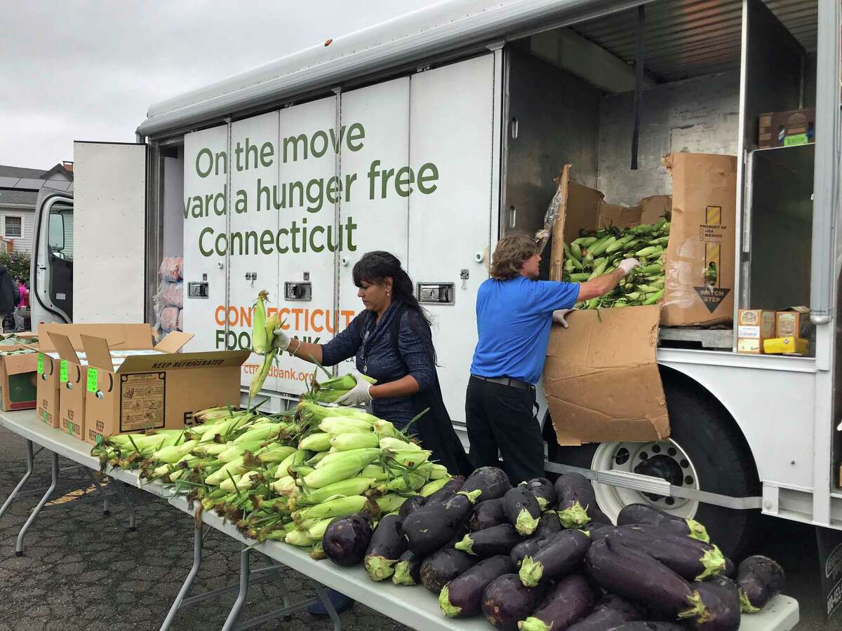 A Connecticut Food Bank mobile food pantry in New Haven.
