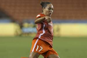 Houston Dash forward Kyah Simon (17) takes a strike at the ball during the second half of the NWSL game at BBVA Compass Stadium on Friday, June 22, 2018, in Houston. The Houston Dash lost to the Portland Thorns FC 3-1. ( Yi-Chin Lee / Houston Chronicle )