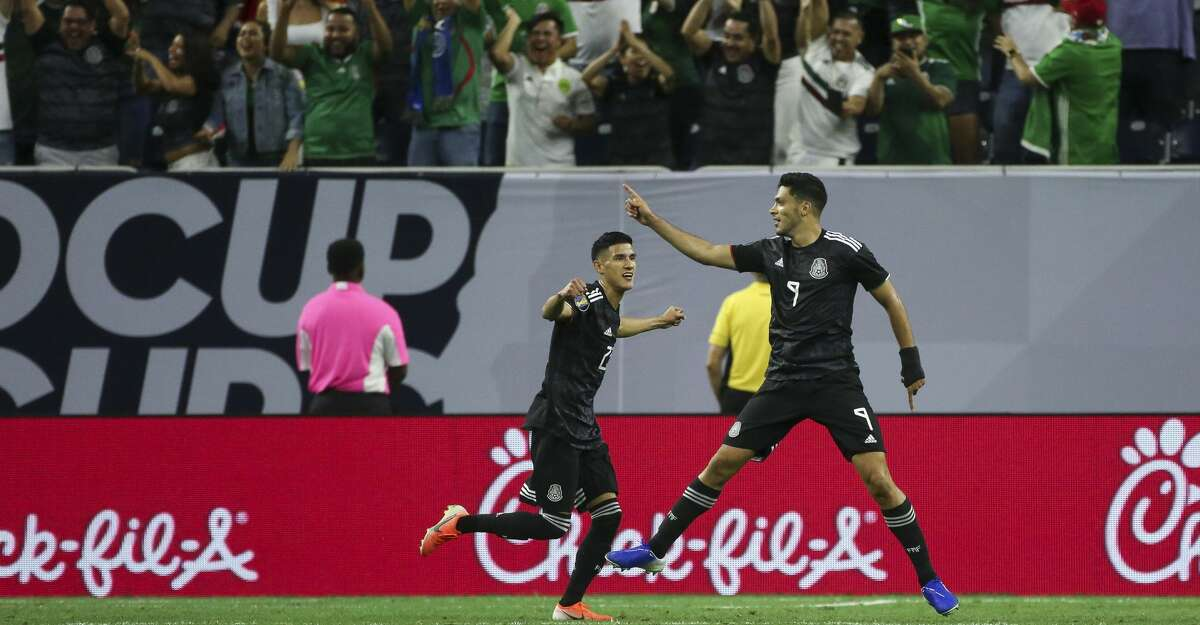 Mexico forward Raul Jimenez (9) celebrates after scoring a goal against Costa Rica during the first half of a CONCACAF Gold Cup quarterfinals match at NRG Stadium Saturday, June 29, 2019, in Houston.
