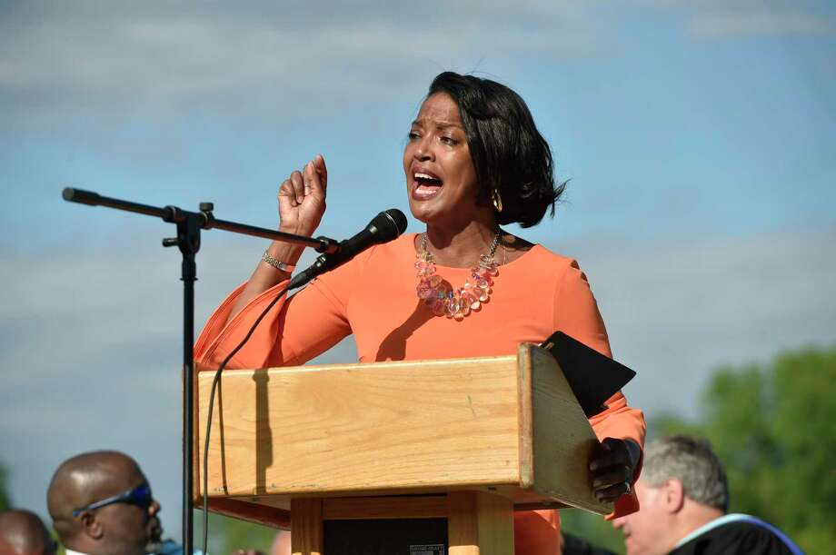 New Haven, Connecticut - Friday, June 14, 2019: Keynote speaker Congresswoman Jahana Hayes at the Hillhouse H.S. 160th Commencement Exercises for the Class of 2019 Friday at Bowen Field in New Haven. Photo: Peter Hvizdak / Hearst Connecticut Media / New Haven Register