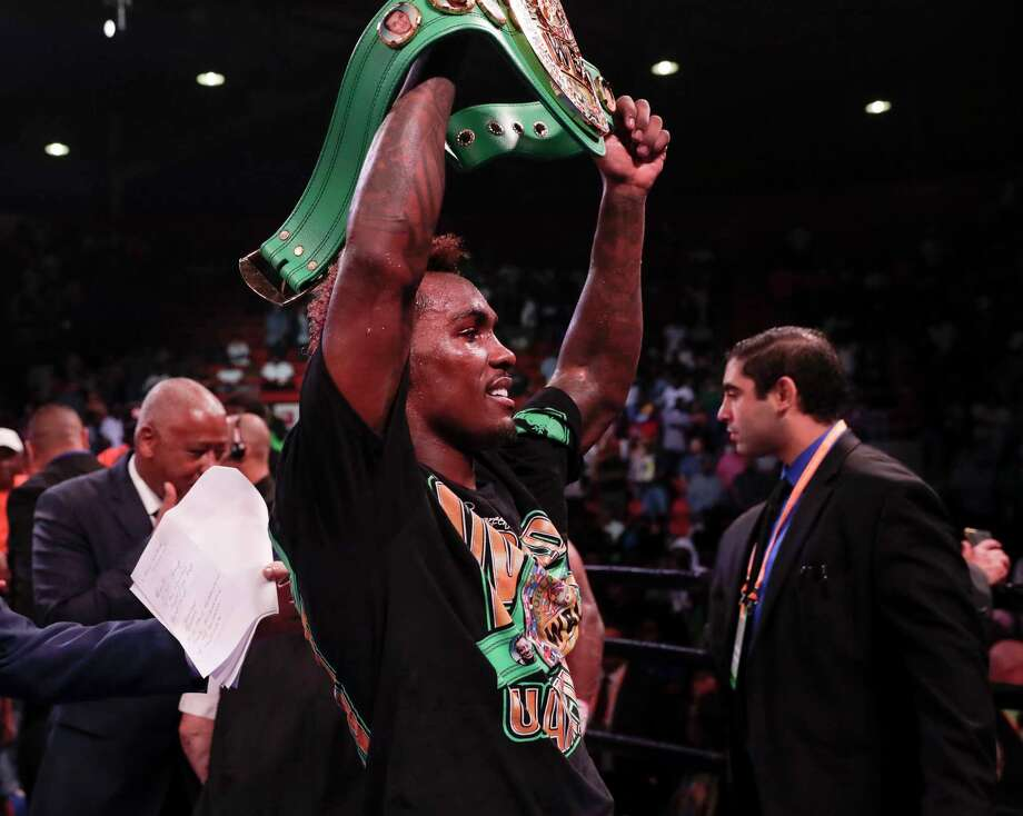 PHOTOS: Jermall Charlo's fight in Houston in June HOUSTON, TX - JUNE 29:  Jermall Charlo celebrates with his championship belt after defeating Brandon Adams during the WBC World Middleweight Championship at NRG Arena on June 29, 2019 in Houston, Texas. Photo: Tim Warner, Getty Images / 2019 Getty Images