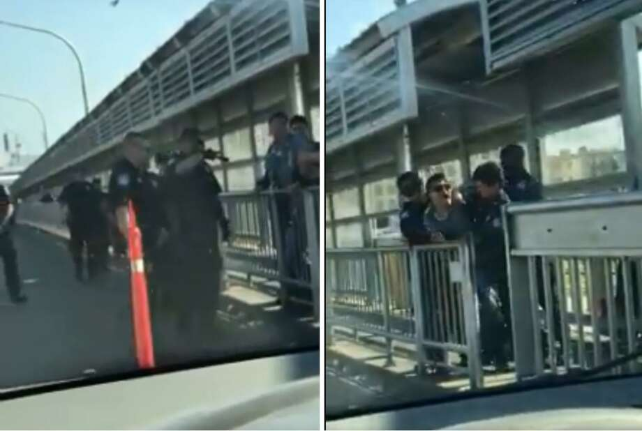 U.S. Customs and Border Protection officers can be seen in a struggle with a Cuban national in the middle of the Gateway to the Americas International Bridge. Photo: Courtesy Photo