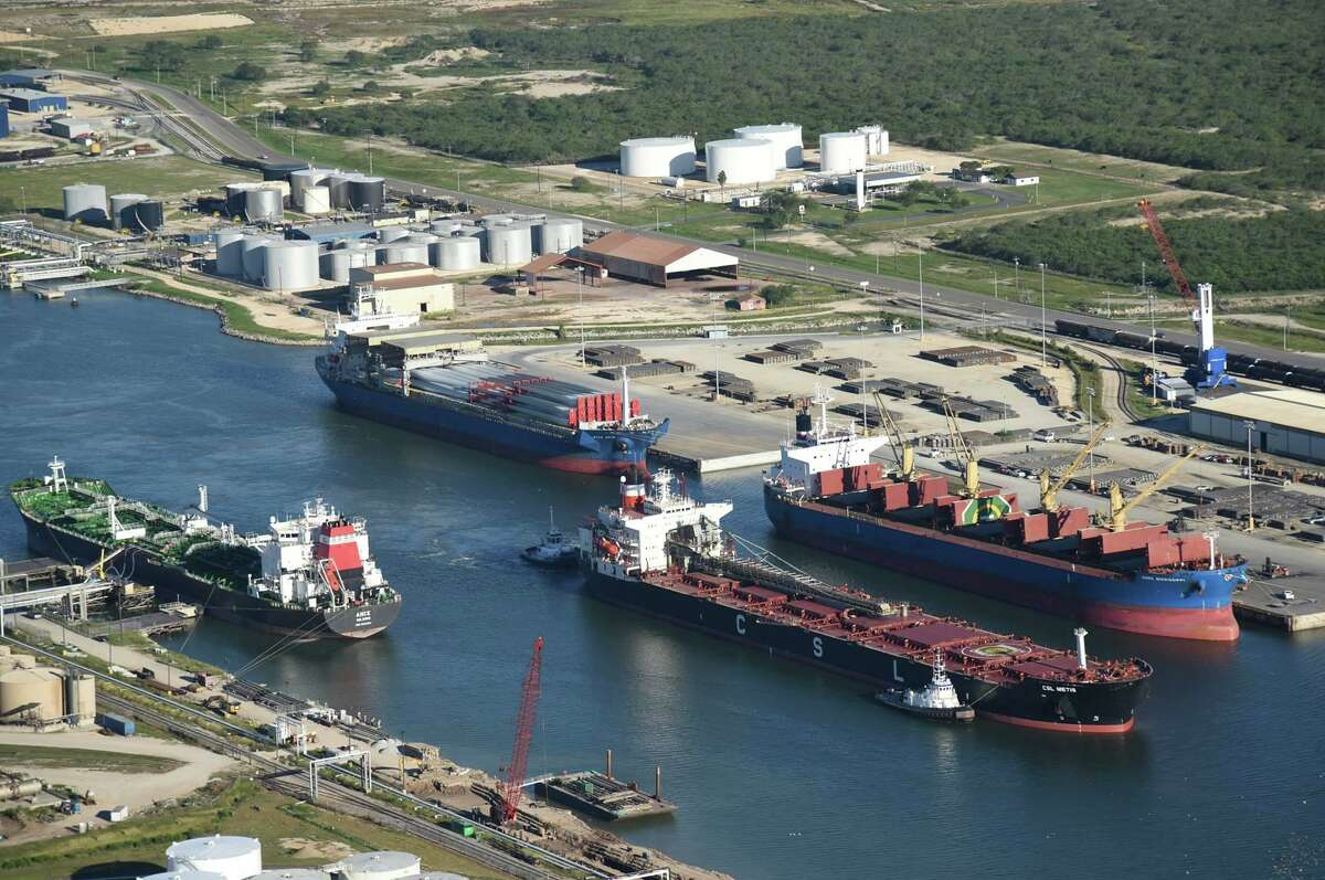 Aerial view of the Brownsville Ship Channel,.Communities can use port development grants to aid broader economic development, the authors write.