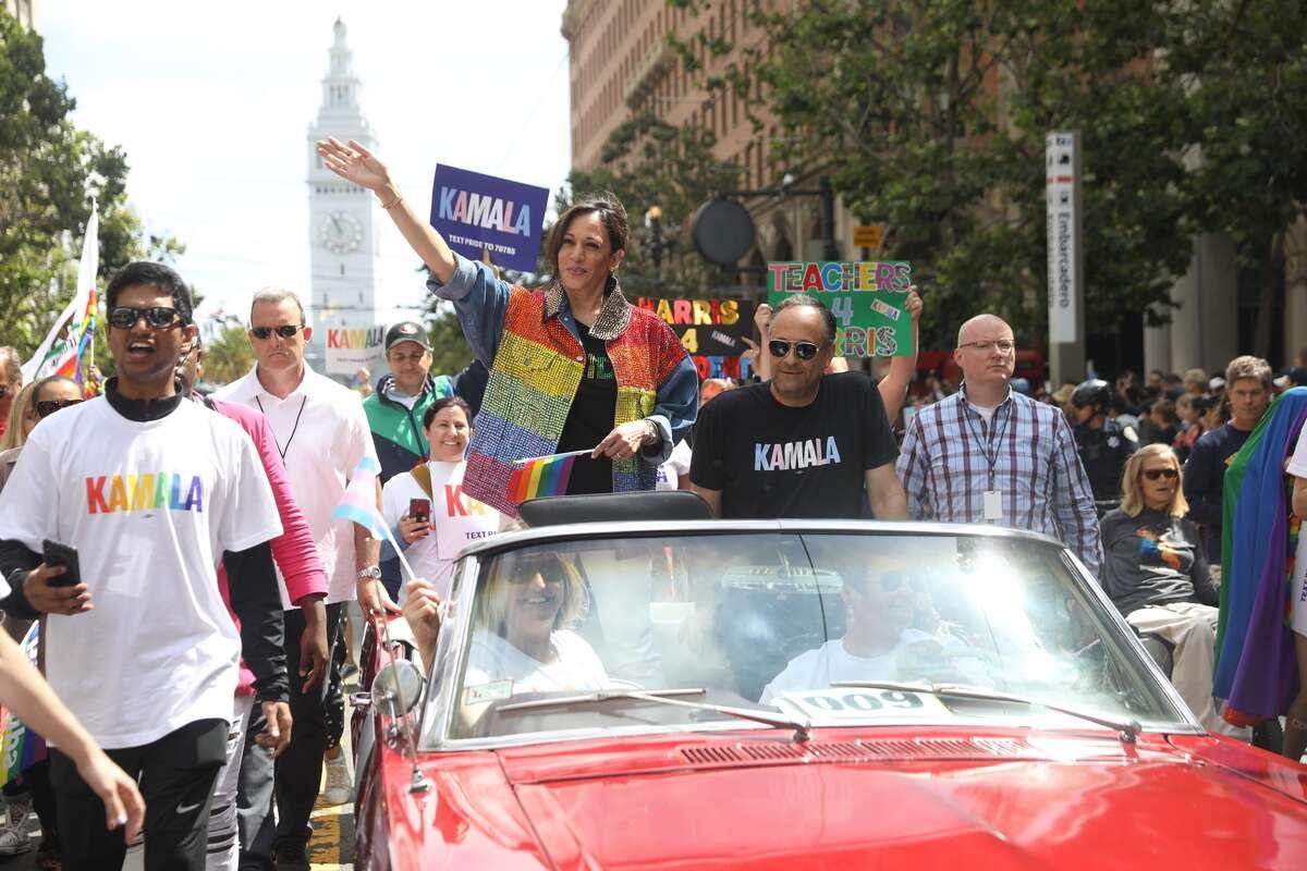 U.S. Senator for California and presidential candidate Kamala Harris rides in the 2019 San Francisco Pride Parade.