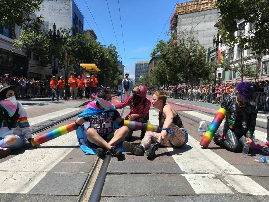 Protestors block Sixth and Market streets during the San Francisco Pride Parade on June 30, 2019. Photo: Douglas Zimmerman/SFGATE