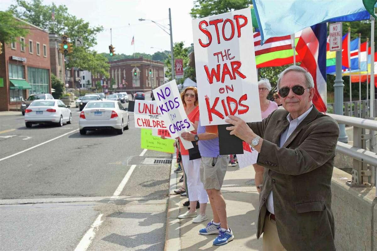 G. Kenneth Bernhard, former state representative from Westport, helped organize the protest against U.S. detention centers on the Ruth Steinkraus Cohen Bridge Saturday, June 29, 2019, in Westport, Conn.