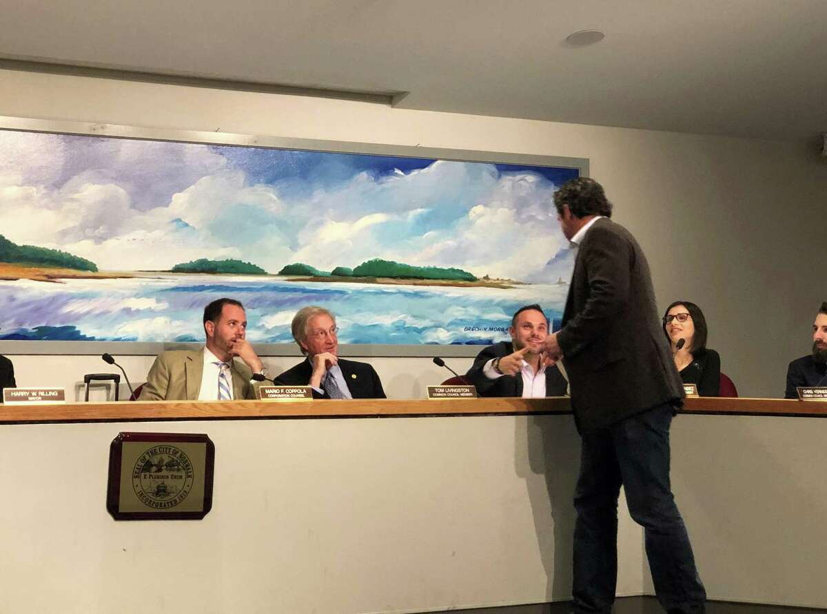 Michael DePalma, a newly appointed member of theOak Hills Park Authority, shakes hands with Common Council members on Tuesday, June 25, 2019.