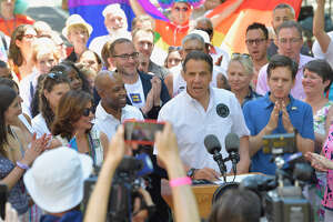 """Gov. Andrew M. Cuomo on Sunday, June 30, 2019, signed legislation prohibiting the """"gay and trans panic defense"""" in New York state."""