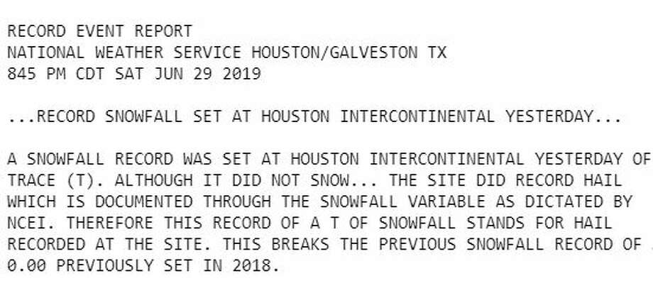 Houston set a record for snowfall on Friday, due to a strange categorization of data by the National Centers for Environmental Information. Photo: NWS