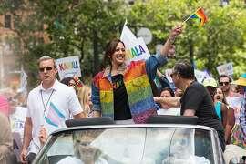 Kamala Harris, presidential candidate, partakes in the annual Pride San Francisco parade on Saturday, June 30, 2019. San Francisco, Calif.