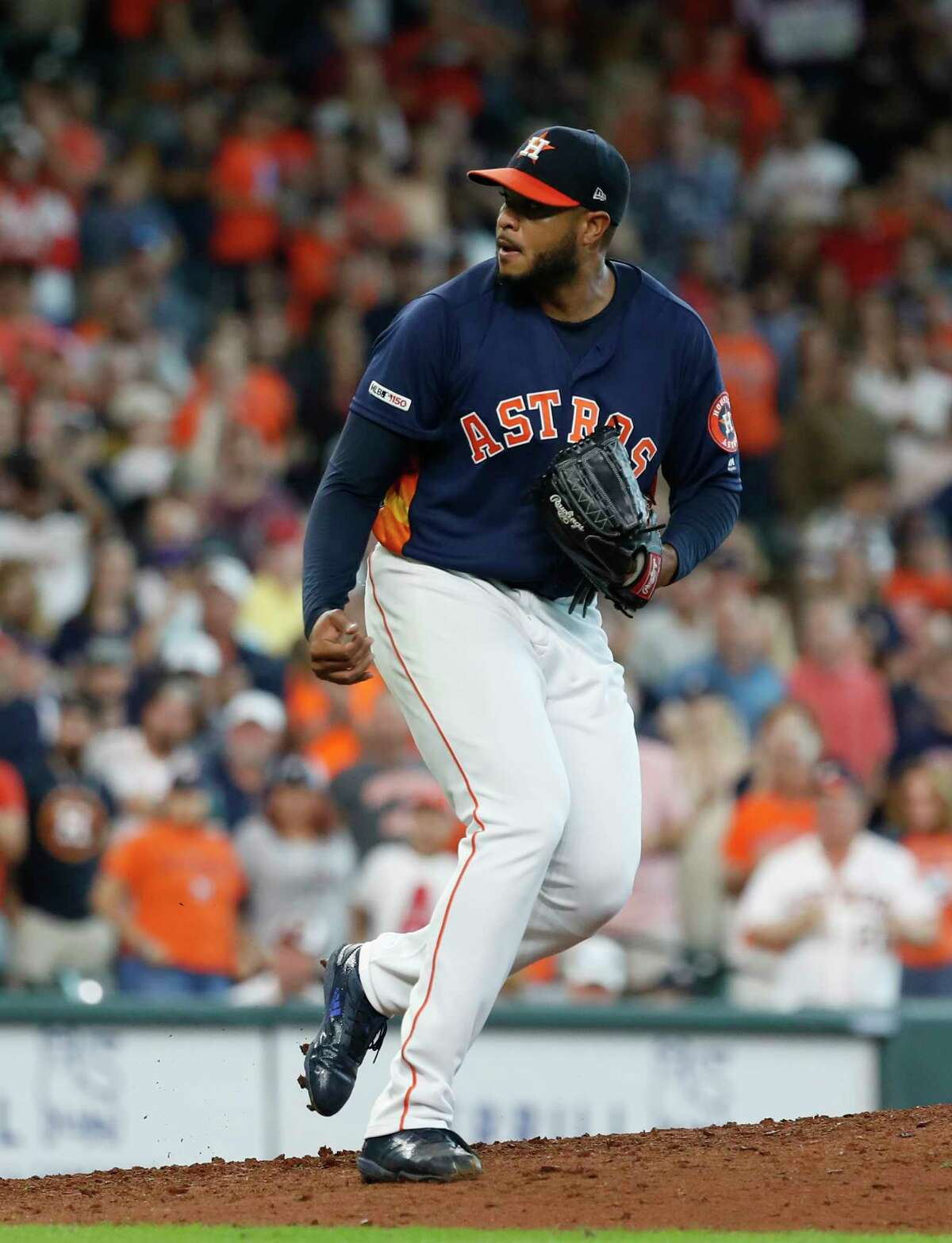 Houston Astros starting pitcher Josh James (39) reacts after Seattle Mariners Kyle Seager struck out to end the ninth inning of an MLB baseball game at Minute Maid Park,Sunday, June 30, 2019, in Houston.