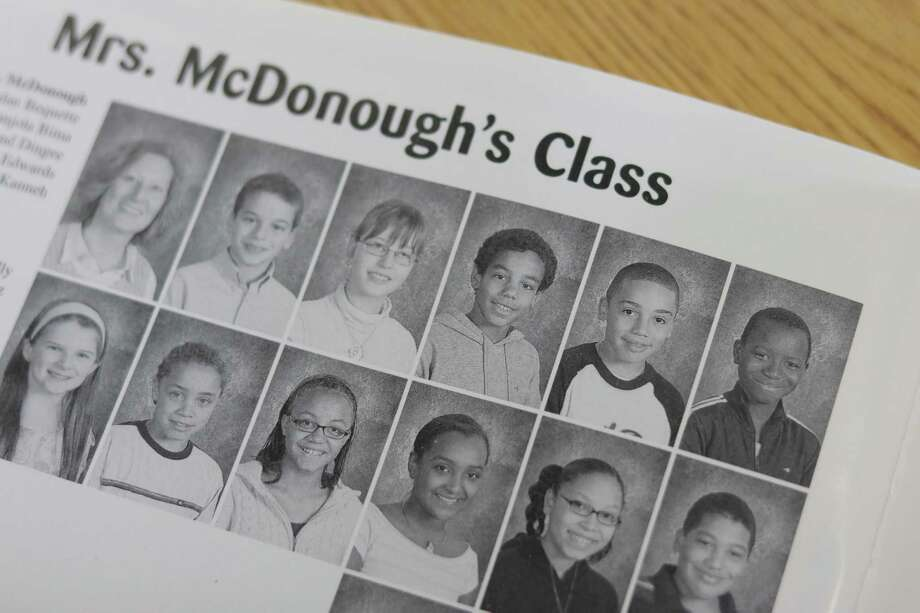 Musa Kanneh, far right on the top row, in his fifth grade yearbook at New Scotland Elementary School when he was resettled from Sierre Leone as a refugee in Albany, N.Y. in 2005. Photo: Courtesy Of City School District Of Albany