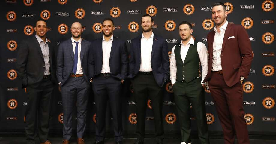 PHOTOS: Astros game-by-game Members of the Houston Astros that were named to the 2019 American League All-Star team, get their photos taken before leaving for Colorado, at Minute Maid Park, Sunday, June 30, 2019, in Houston.  From left: Michael Brantley, Ryan Pressly, George Springer, Gerrit Cole, Alex Bregman, and Justin Verlander. The Astros are the only major league team with six players at the All-Star Game. Browse through the photos to see how the Astros have fared in each game this season. Photo: Karen Warren/Staff Photographer