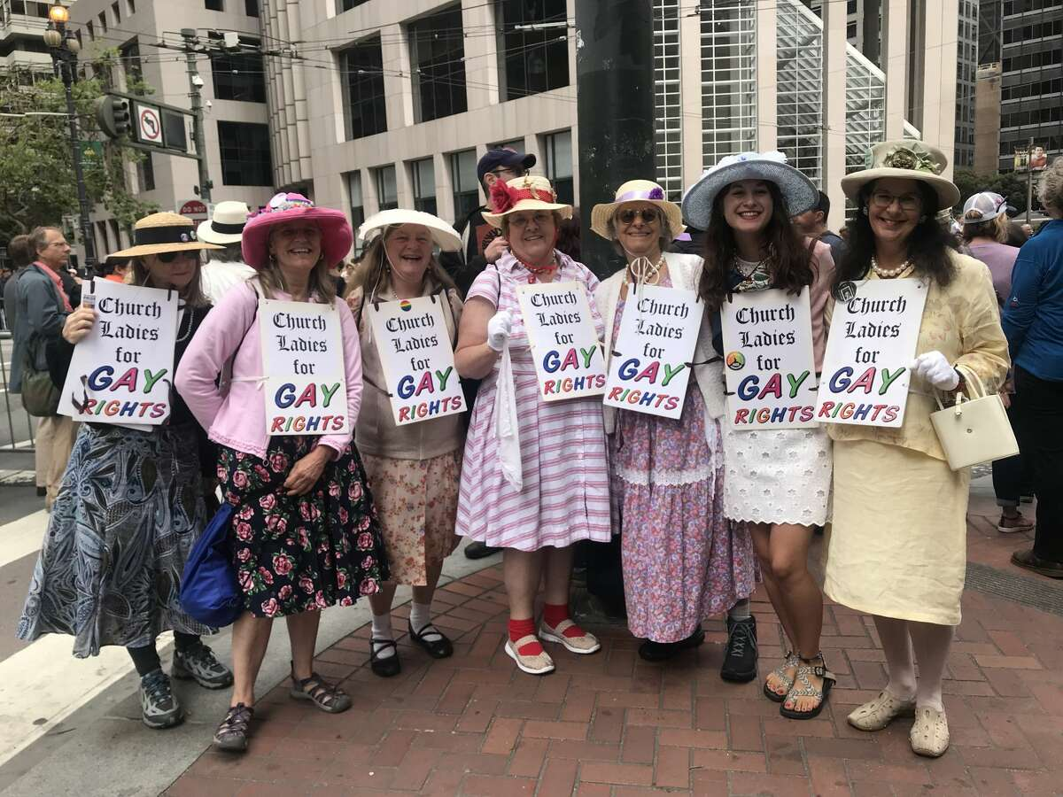 Church Ladies for Gay Rights show their support at Pride 2019 in San Francisco. Click through this gallery to see the most clever signs, colorful costumes and other parts of the atmosphere at SF Pride 2019.