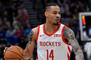 SALT LAKE CITY, UT - FEBRUARY 02: Gerald Green #14 of the Houston Rockets brings the ball up court against the Utah Jazz in the first half of a NBA game at Vivint Smart Home Arena on February 2, 2019 in Salt Lake City, Utah. NOTE TO USER: User expressly acknowledges and agrees that, by downloading and or using this photograph, User is consenting to the terms and conditions of the Getty Images License Agreement. (Photo by Gene Sweeney Jr./Getty Images)