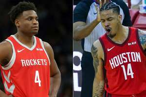 Split photo of Rockets players Danuel House Jr. and Gerald Green.
