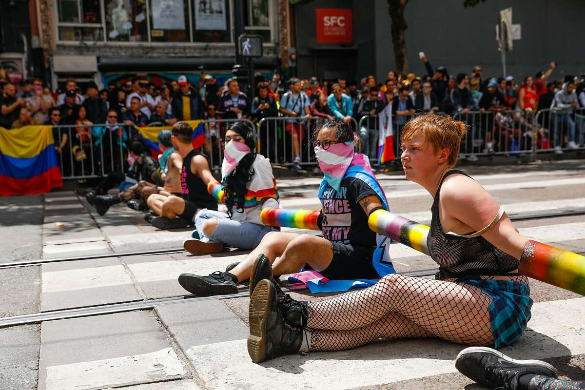 Demonstrators blocked Market Street in an attempt to shut down the annual Pride Parade in San Francisco, California, on Sunday, June 30, 2019. The group was anti-police and against the coorperations participating in the parade.