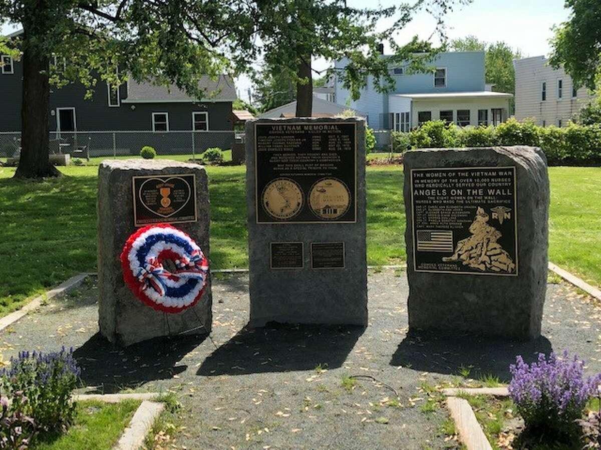 An Agent Orange memorial, left, a Vietnam Memorial and a Nurses Memorial, right, are part of of a Vietnam Monument in Cohoes Veterans Memorial Park. (Cohoes Veterans Memorial Park Committee)