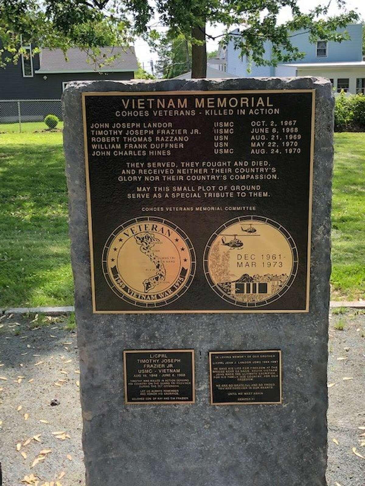 Vietnam Memorial commemorates Cohoes veterans killed in action. (Cohoes Veterans Memorial Park Committee)