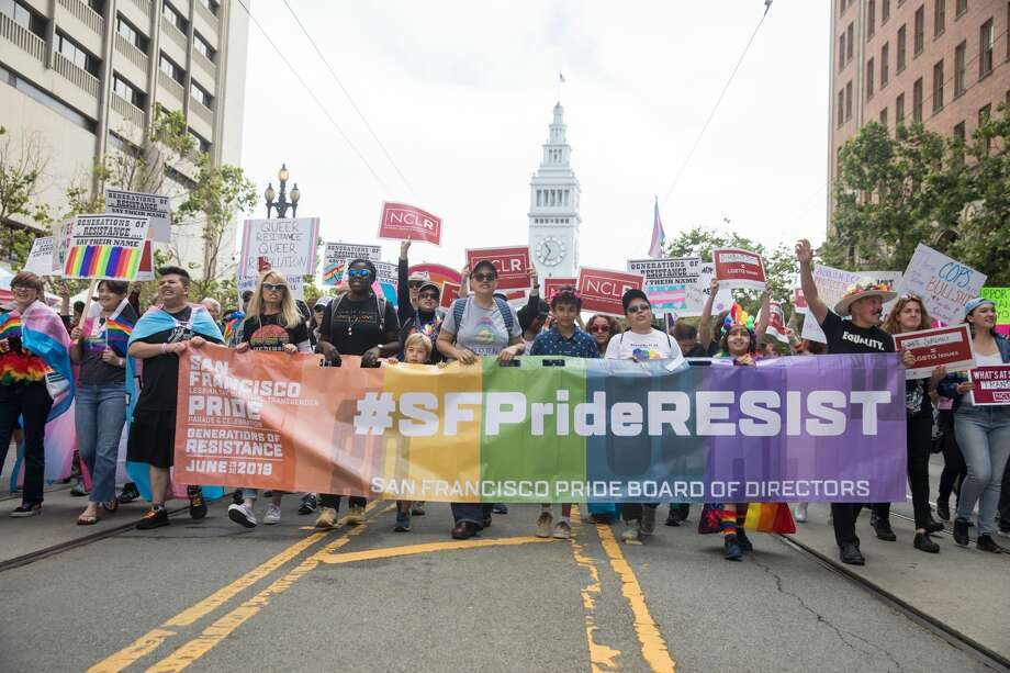 Participants take part at the start of the 2019 San Francisco Pride Parade on Market Street in San Francisco on June 30, 2019. Photo: Douglas Zimmerman/SFGate.com