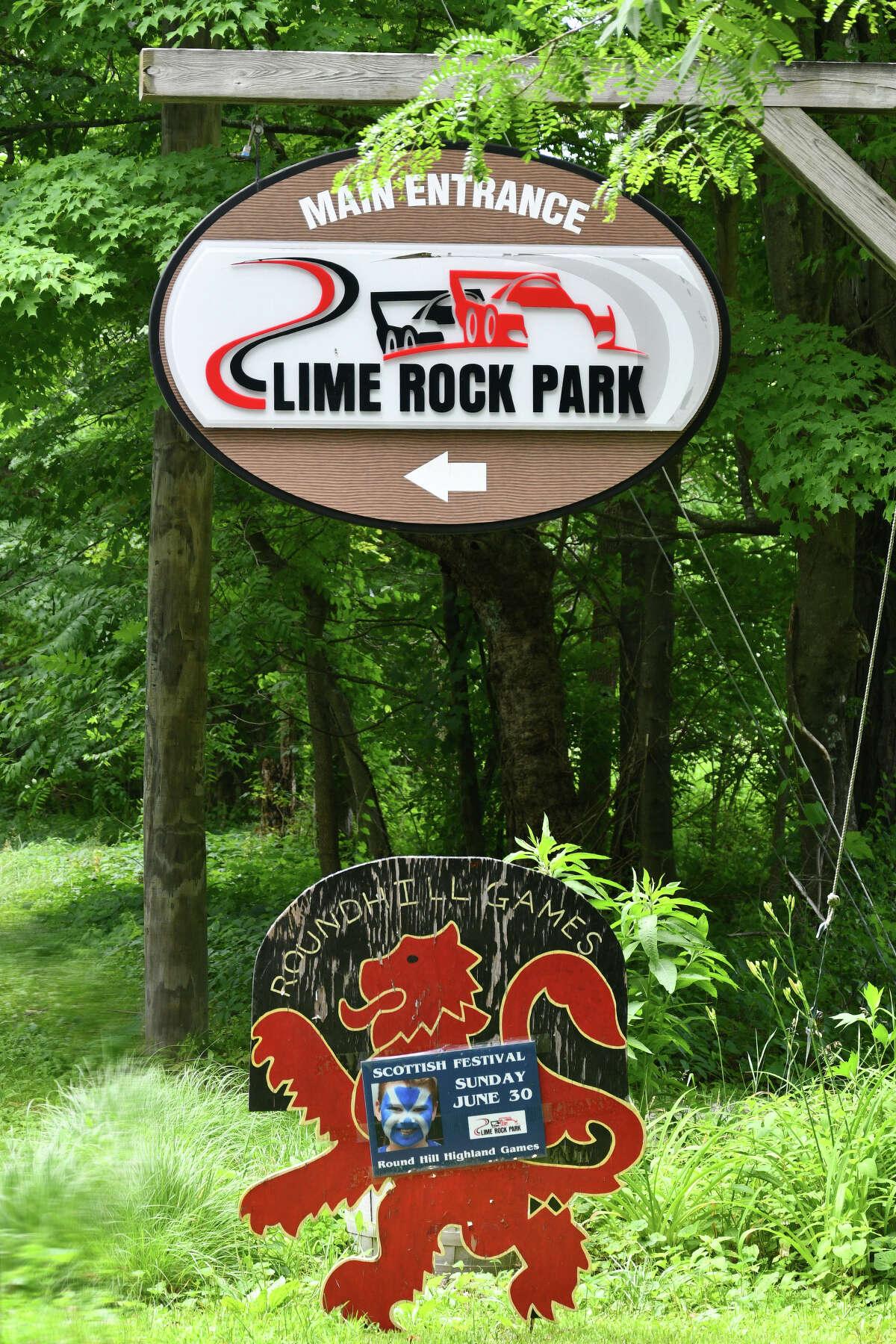 Entrance to Lime Rock Park in Lakeville, Connecticut.