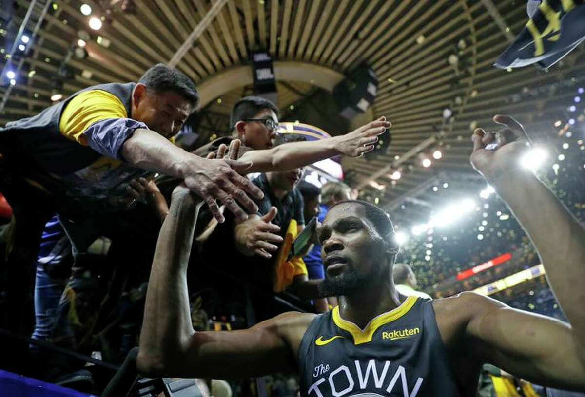 Forward Kevin Durant reached the NBA Finals in all three of his seasons with the Warriors.