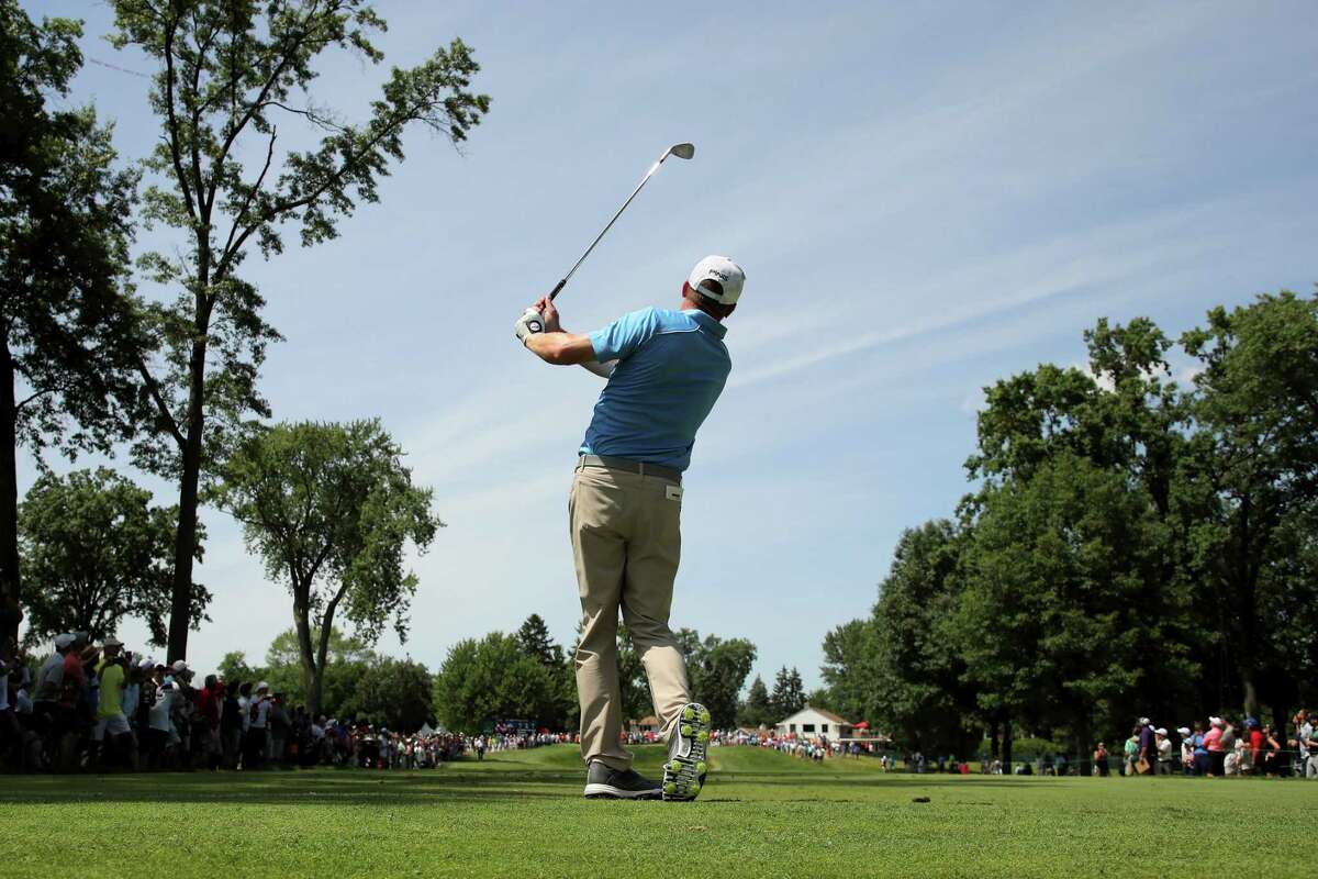 DETROIT, MICHIGAN - JUNE 30: Nate Lashley plays his shot from the fifth tee during the final round of the Rocket Mortgage Classic at the Detroit Country Club on June 30, 2019 in Detroit, Michigan. (Photo by Gregory Shamus/Getty Images)