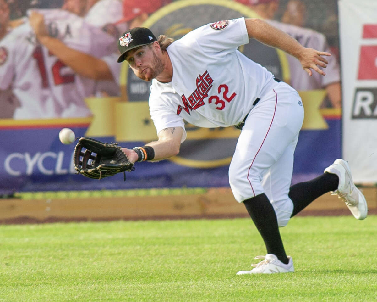 Tri-City ValleyCats left fielder Zach Biermann misplays a fly ball during a game against the Aberdeen IronBirds at the Joseph L. Bruno Stadium on Sunday, June 30, 2019 (Jim Franco/Special to the Times Union.)