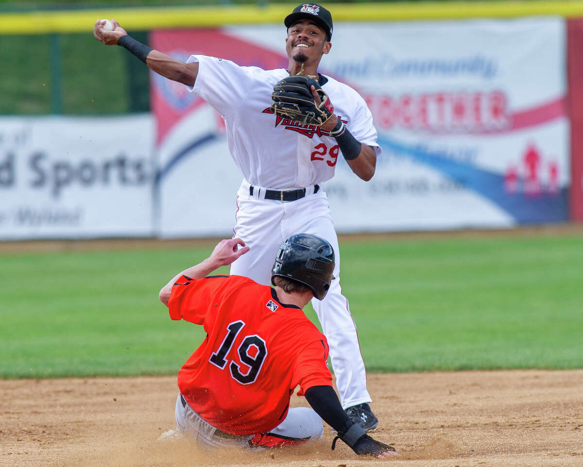 Tri-City ValleyCats second basemen AJ Lee turns a double play during a game against the Aberdeen IronBirds at the Joseph L. Bruno Stadium on Sunday, June 30, 2019 (Jim Franco/Special to the Times Union.)