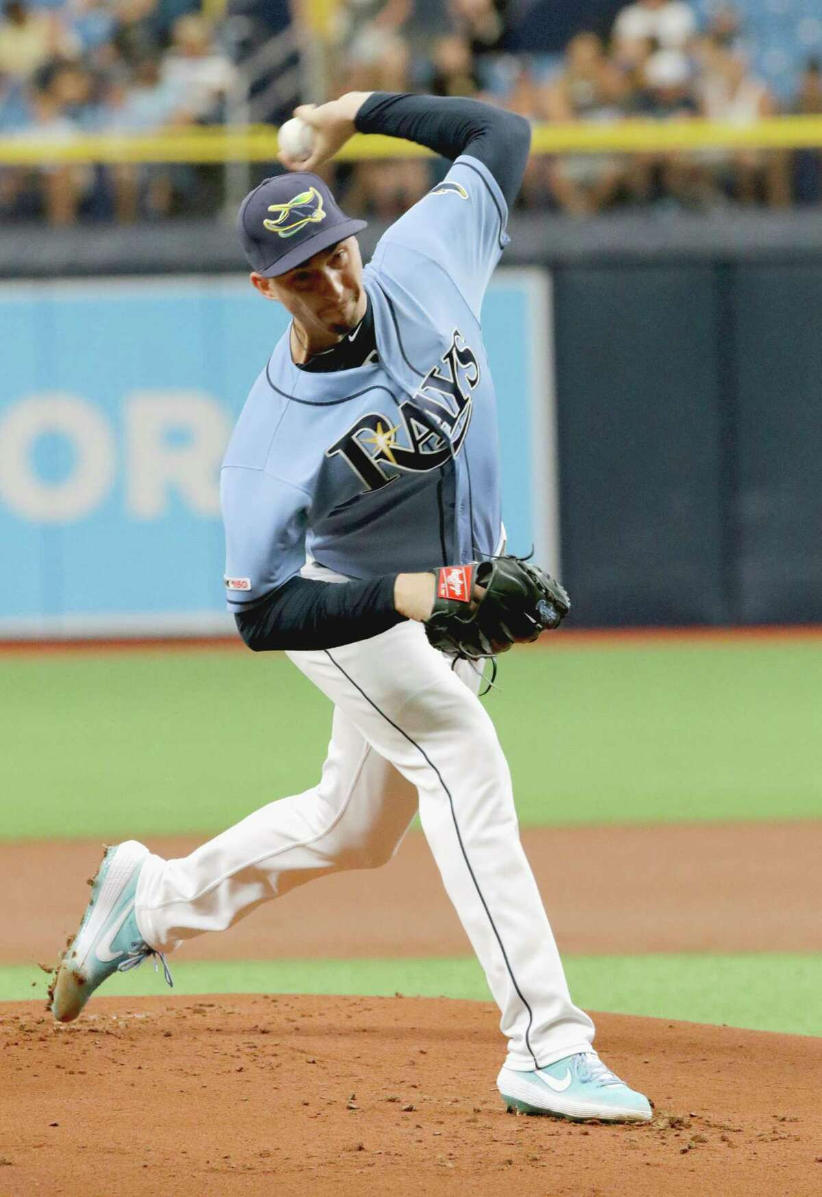 ST. PETERSBURG, FL - JUNE 30: Blake Snell #4 of the Tampa Bay Raysdelivers a pitch during the top of the first inning against the Texas Rangers of their game at Tropicana Field on June 30, 2019 in St. Petersburg, Florida. (Photo by Joseph Garnett Jr. /Getty Images)