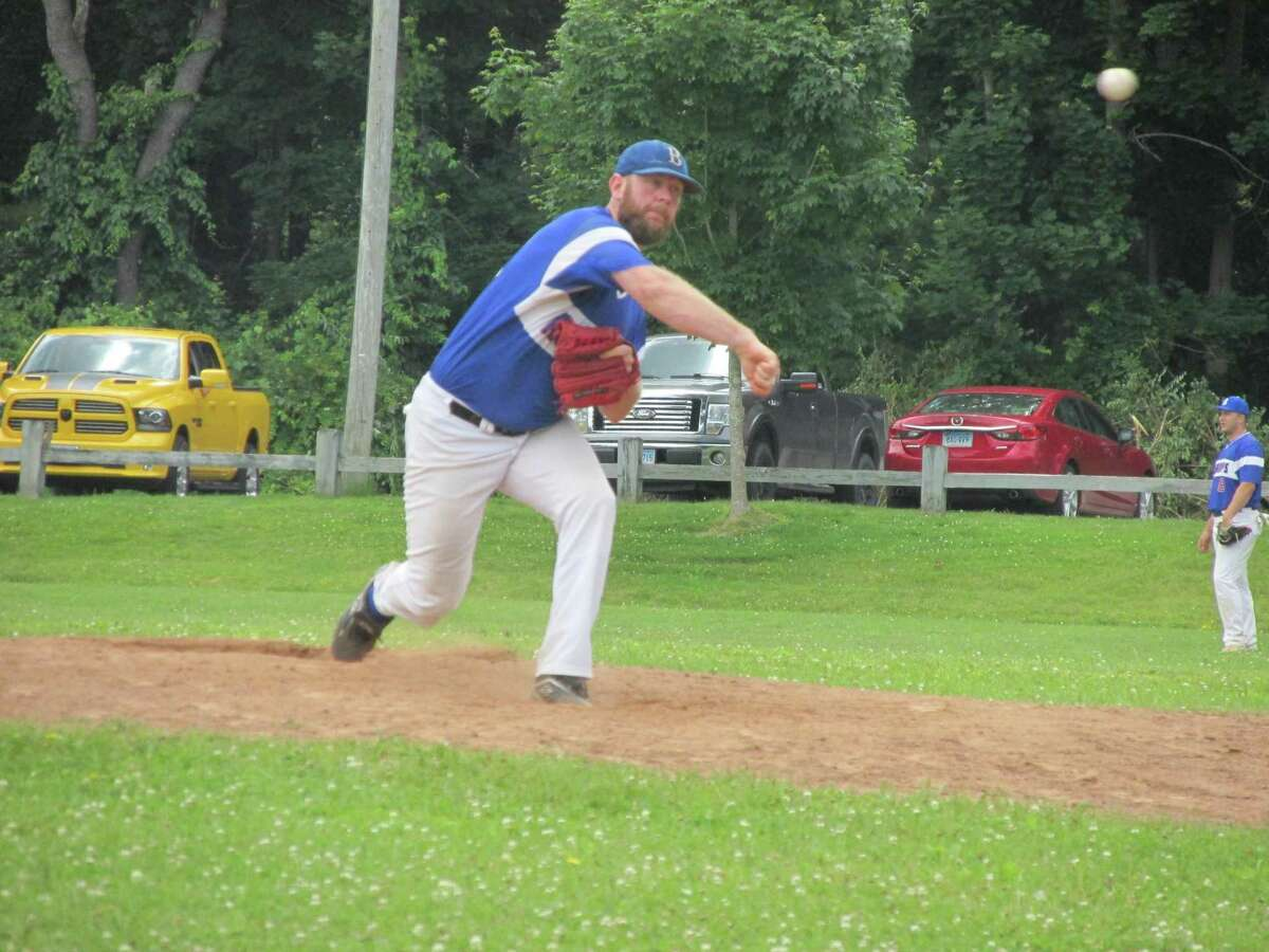 Bethlehem's Tyler Erickson pitched a strong six innings before giving up the winning hit to Tri-Town's Danny McCarty Sunday afternoon in a Tri-State Baseball League game at Litchfield's Community Field.