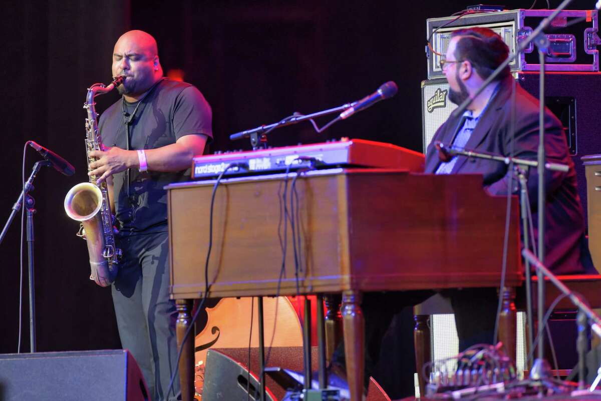 Members of the Joey DeFrancesco Trio perform at the Freihofer?s Saratoga Jazz Festival at the Saratoga Performing Arts Center on Sunday, June 30, 2019, in Saratoga Springs, N.Y. (Paul Buckowski/Times Union)