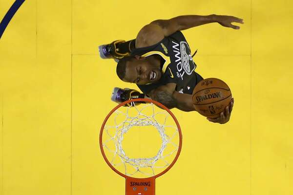 OAKLAND, CALIFORNIA - JUNE 13: Andre Iguodala #9 of the Golden State Warriors attempts a shot against the Toronto Raptors during Game Six of the 2019 NBA Finals at ORACLE Arena on June 13, 2019 in Oakland, California. NOTE TO USER: User expressly acknowledges and agrees that, by downloading and or using this photograph, User is consenting to the terms and conditions of the Getty Images License Agreement. (Photo by Lachlan Cunningham/Getty Images)