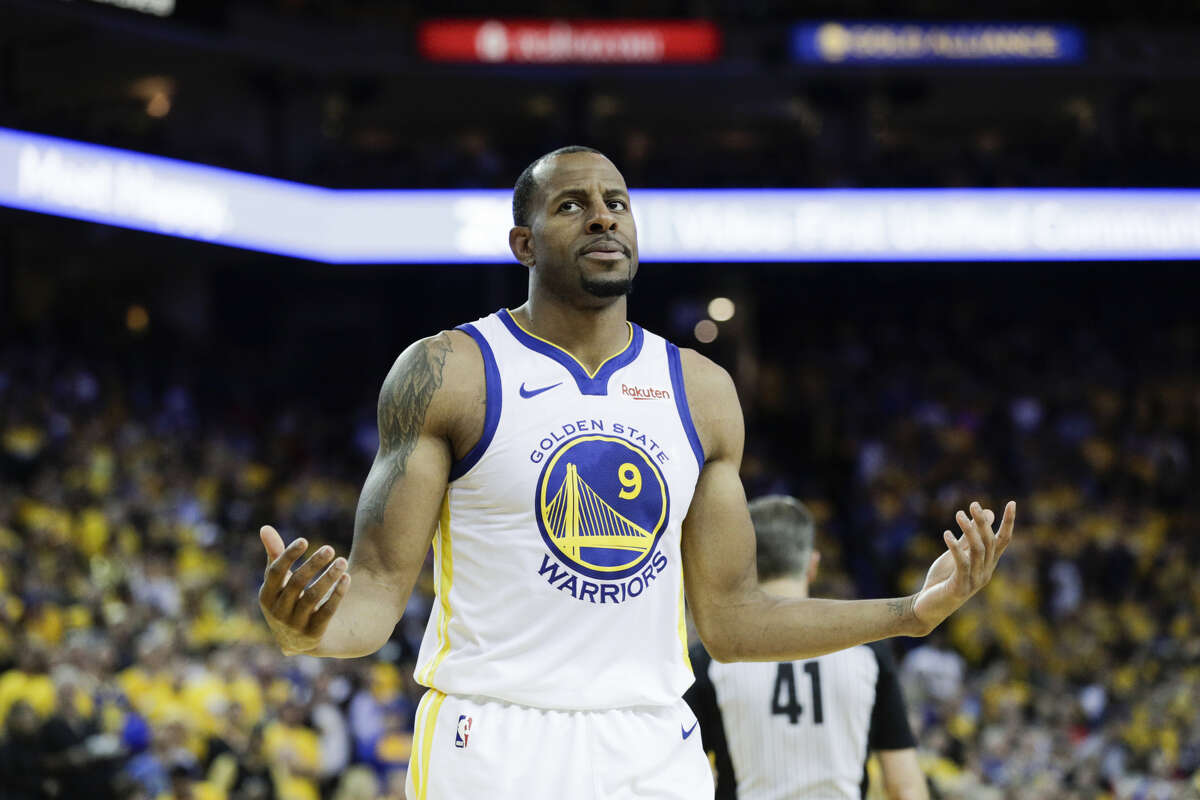 Golden State Warriors Andre Iguodala react sin the fourth quarter during game 5 of the Western Conference Semifinals between the Golden State Warriors and the Houston Rockets at Oracle Arena on Wednesday, May 8, 2019 in Oakland, Calif.