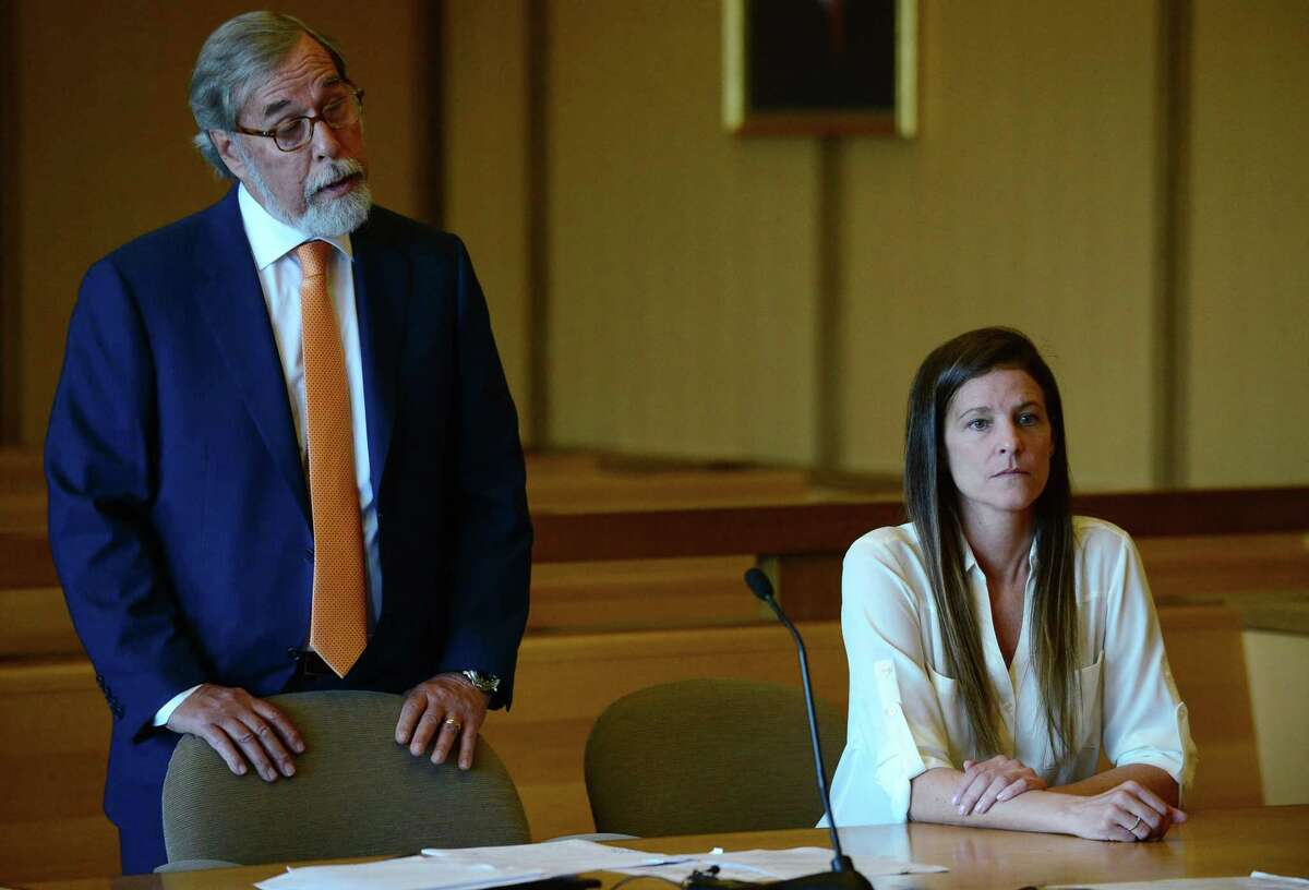 Michelle Troconis attends her hearing on Friday, June 28, 2019, with her attorney Andrew Bowman.