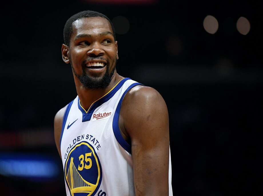 Kevin Durant #35 of the Golden State Warriors smiles at his bench in a 129-110 win over the LA Clippers during Game Six of Round One of the 2019 NBA Playoffs at Staples Center on April 26, 2019 in Los Angeles.  Photo: Harry How / Getty Images