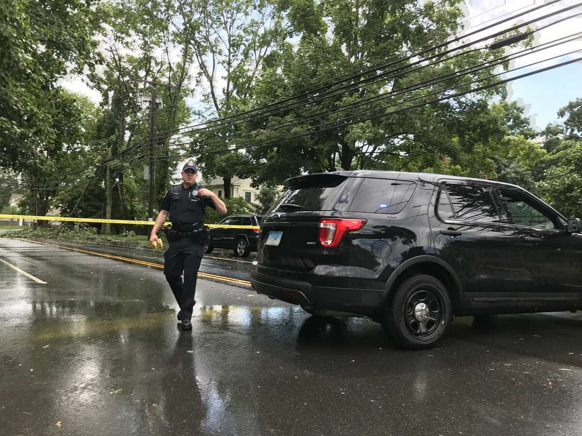 Compo Road in Westport is shut after a tree fell on power lines during a brief storm on Sunday, June 30, 2019.
