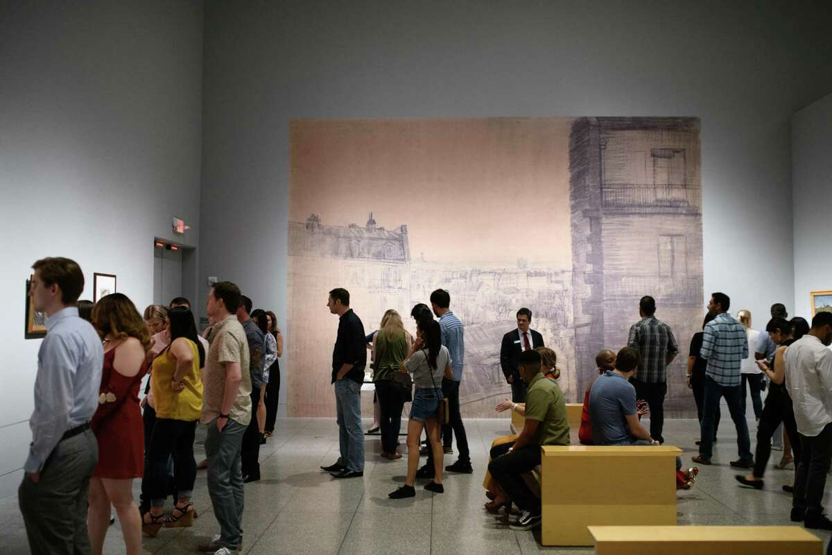 The MFAH filled out large galleries with mural reproductions.