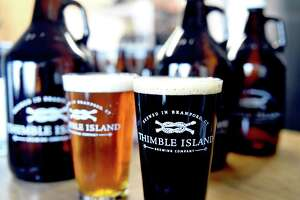 Thimble Island Brewery in Branford in the tasting area of the brewery.