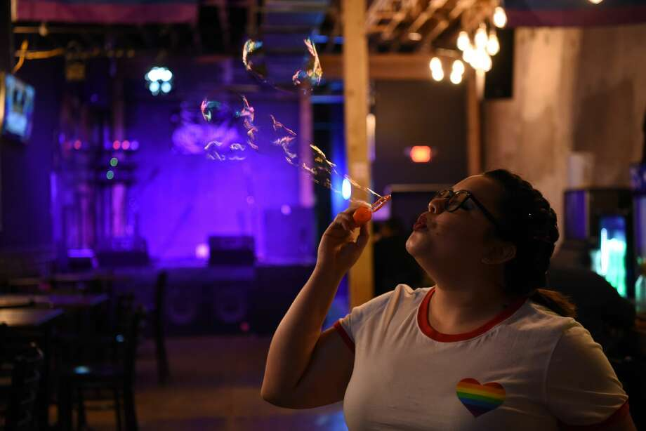 Members of the LGBTQ community and its allies come together in celebration and support of the community with drinks, live music, dancing and rainbows flooding Laredo's downtown streets, Friday, June 28, 2019. Photo: Christian Alejandro Ocampo