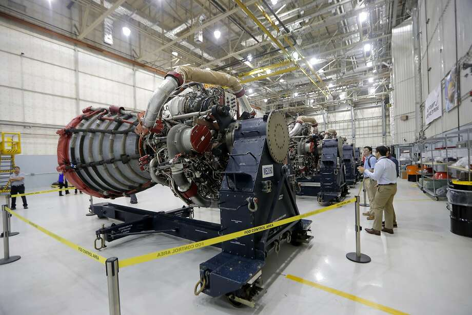 RS-25 engines for the Space Launch System rocket are displayed at NASA's Michoud Assembly Center in New Orleans. Photo: Gerald Herbert / Associated Press