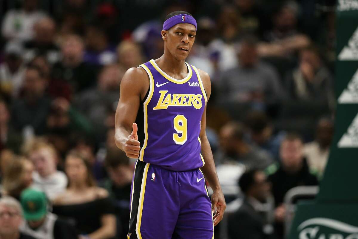 MILWAUKEE, WISCONSIN - MARCH 19: Rajon Rondo #9 of the Los Angeles Lakers looks on in the fourth quarter against the Milwaukee Bucks at the Fiserv Forum on March 19, 2019 in Milwaukee, Wisconsin. NOTE TO USER: User expressly acknowledges and agrees that, by downloading and or using this photograph, User is consenting to the terms and conditions of the Getty Images License Agreement. (Photo by Dylan Buell/Getty Images)