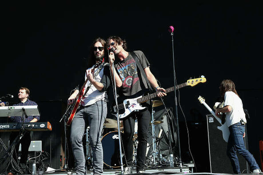 Tyson Ritter (left) and Nick Wheeler of All-American Rejects perform in concert Sept. 16 in Del Mar, California. Photo: Gary Miller | FilmMagic